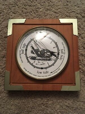 Tide Clock Wood and Brass Sailboat High Tide, Low Tide Half Tide -6 Inch