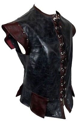 Distressed Two Tone Leather Jerkin Medieval Fantasy LARP MADE TO ORDER