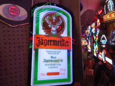 Rare Mint In Box Jagermeister Led Beer Light Sign Fabulous Advertisement Mancave