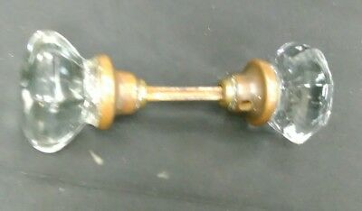 Vintage Antique Crystal/Glass Door Knob Clear 8 point with Shank