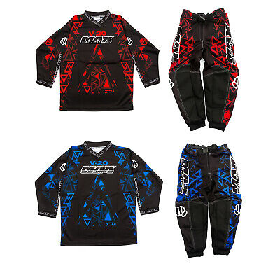 Wulfsport V20 Max Equipe Red/Blue Kids Junior Race Jersey & Pants MX Motocross