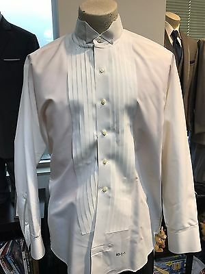 "Men's Formal ½"" Pleated Microfiber Ivory Wing collar Tuxedo Shirt FREE SHIPPING"
