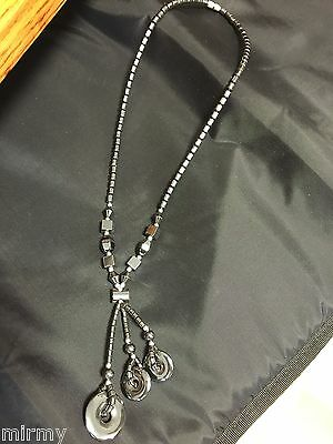 Best Art Deco Hematite Y Necklace Circles Silver Beads