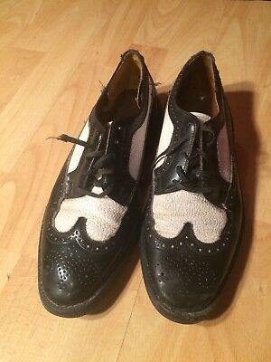 Vintage retro 50s 60s rockabilly spats brogues two tone black white shoes