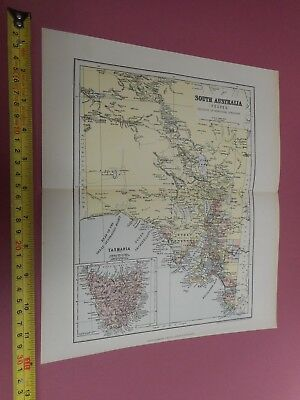100% Original South Australia  Tasmania Map By Chambers C1888 Vgc 0.99P Start