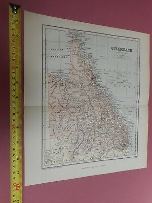 100% Original Queensland Australia Map By Chambers C1888 Vgc 0.99P Start