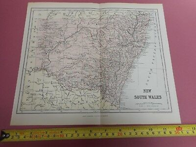 100% Original New South Wales Australia  Map By Chambers C1888 Vgc 0.99P Start