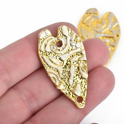 10 HEART Charm Pendants elongated heart 22mm chs4620 flat silver metal