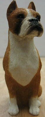 Sandicast Boxer Figurine, Fawn Color, Sitting, Cropped Ears, Mid Size Ms152
