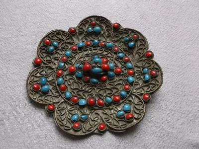 253 / A 19Th Century Tibetan Metal Plaque With Wire Work And Set With Stones