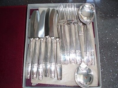 ELKINGTON S P CUTLERY ` Westminster` 6x Dessert Knives Forks and Soup Spoons