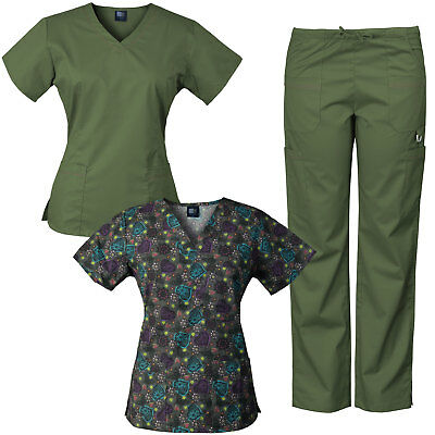 MedGear 3-Piece Stretch Scrubs Set with Printed Scrub Top Combo 7895ST-DOCH