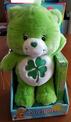 """Play Along 13"""" CARE BEAR GOOD LUCK BEAR PLUSH With DVD New In Box St. PATRICK'S"""