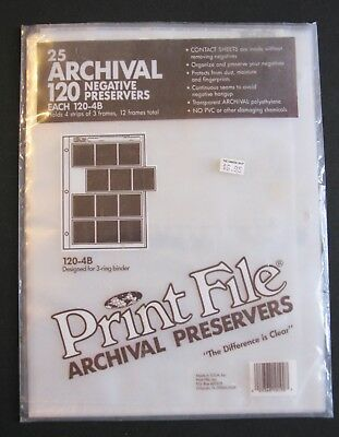 Archival 120 Film Negative Preservers, Open package of 20