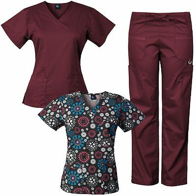 MedGear 3-Piece Stretch Scrubs Set with Printed Scrub Top Combo 7895ST-FFRB