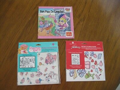 Valentine Muppets & Peppermint Rose Sticker Coloring Posters, McD's Muppet Baby