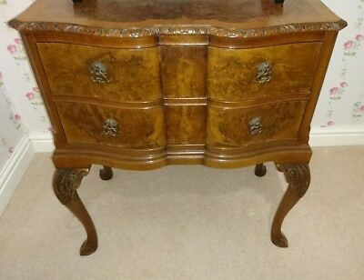 Antique Walnut Bow Fronted Chest of drawers + Mirror Good Condition Lamp Bedside