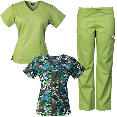 MedGear 3-Piece Stretch Scrubs Set with Printed Scrub Top Combo 7895ST-DDEB
