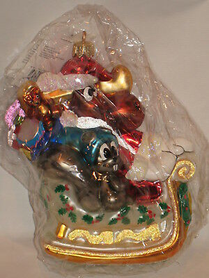 NIB RARE BULLWINKLE ROCKY SLEIGH RIDE Christmas Ornament Christopher Radko 1998