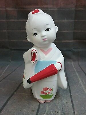 Vintage Rare Pottery Warabe with Red Umbrella Doll Japanese Figurine