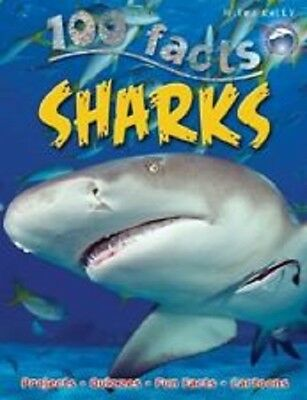 100 Facts Sharks NEW Paperback Book (Projects / quizzes / fun facts / cartoons)