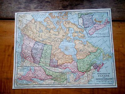 1902 Antq Lithograph ENGRAVED Plate Print MAP-DOMINION OF CANADA & NEWFOUNDLAND