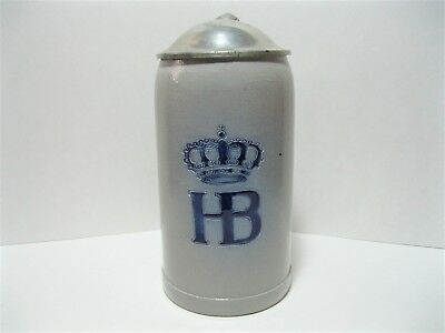 Vintage Hofbrauhaus HB Salt Glazed 1L Liter German Stein with Lid