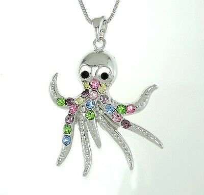 "Octopus W Swarovski Crystal Ocean Beach Sea Multi Color Charm Pendant 18"" Chain"