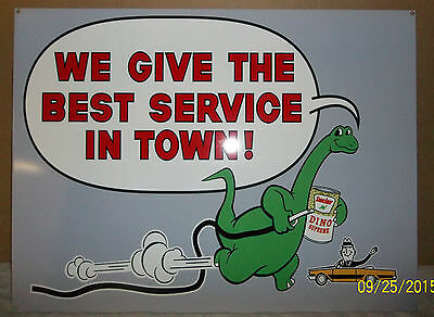 "Great Sinclair ""Best Service in Town"" Sign, Heavy Steel, Great Graphics & Colors"