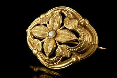 Antique Early Victorian 14K Gold Seed Pearl Pin Brooch  A805-26