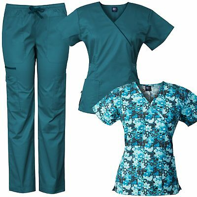 Medgear 3-Piece Eversoft Stretch Scrubs Set With Printed Top Combo 7896ST-FPDT