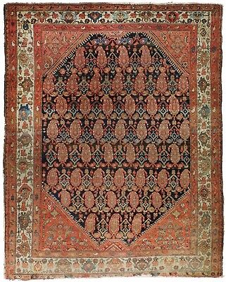 """Genuine hand knotted authentic Antique Boteh Paisly Malayer rug. 4'7""""x 6'5"""""""