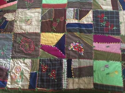 FABULOUS Vintage Wool Crazy Quilt with Beautiful Embroidery Work