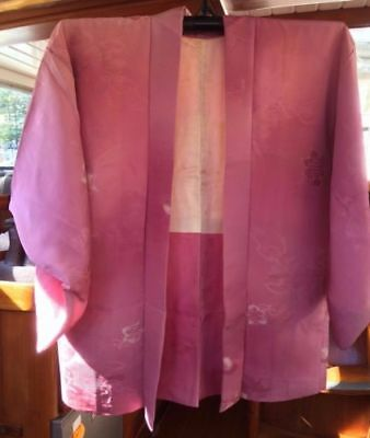 Lovely Pink Patterned Vintage Japanese Silk Haori  Imported From Japan