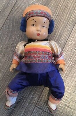 "Vintage Chinese Composition Ming Ming Doll 10"" HEAD LOOSE Silk Clothes"