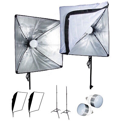 2PCS LED Softbox Photography Studio Kit 1200W Light Photo Video Stand Reflectors