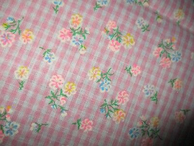 Vtg Fabric, Pink Gingham Tiny Flowers , Daisy's Flocked Cotton Fabric 34 x 44