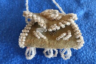 """Antique Iroquois Beaded Tiny Purse Bag 3"""" x 2"""" x 1"""" + tassels and handle"""