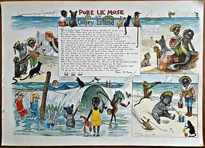 1901 PORE LIL' MOSE AT CONEY ISLAND Page From PORE LIL MOSE BOOK R.F. Outcault