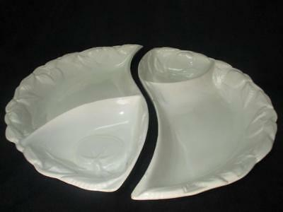 Belmar Of California 406 Divided 2-Piece White Ceramic Demi-Lune Relish Tray USA
