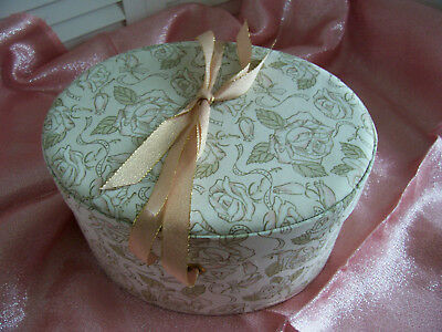 Vintage  Nordstrom Storage Gift Hat Box Container Fabric Covered Elegant