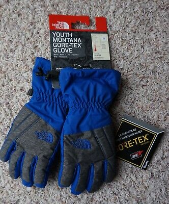 The North Face NWT boys blue grey ski gloves Youth Montana Gore-Tex S Small 6-8
