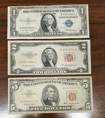$1 + $2 + $5 US Silver Certificates & Red Seal Notes // $8 Face Value // 3 NOTES