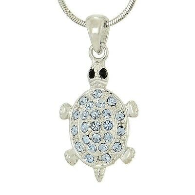 "Turtle w Swarovski Crystal Blue Pendant Sea Ocean Animal Gift Necklace 18"" Chain"