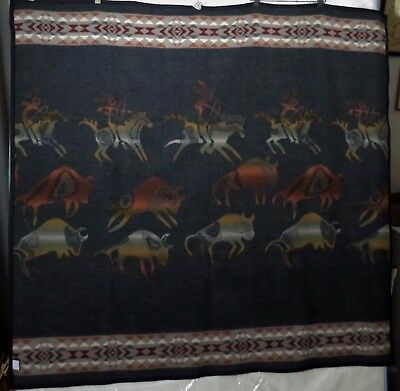 Pendleton Blanket Buffalo Hunt - Horseback 5' x 5'  Exc Condition