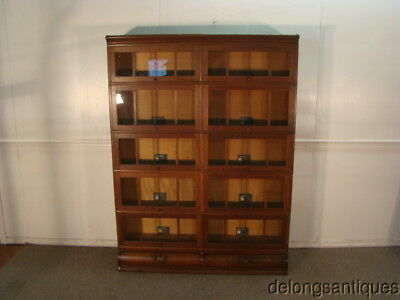 Viking Mission Oak Arts and Crafts Style Barrister Double Wide Bookcase