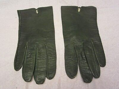 Vintage Pr Aris of Paris Ladies Green Leather Gloves Real Kid Washable Size 7