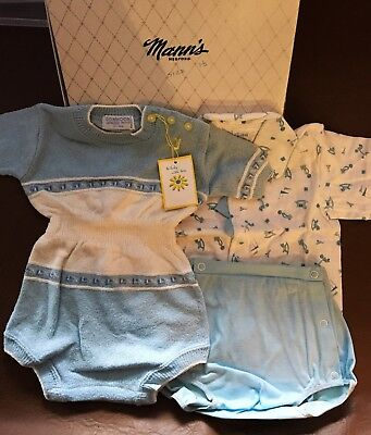 Vintage 1960s Boy's Blue and White 18ms Romper, Shirt, Plastic Pants,in gift box