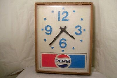 Vintage 70's Era Pepsi Cola Battery Powered Wall Clock 18 x 14.5 Runs As Is