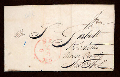 1840 stampless folded letter with red seal, red New York cancel and more